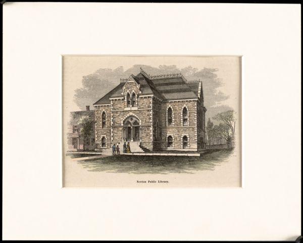Newton Free Library, Newton, MA. Oversize photos. Pen & ink, Newton Corner