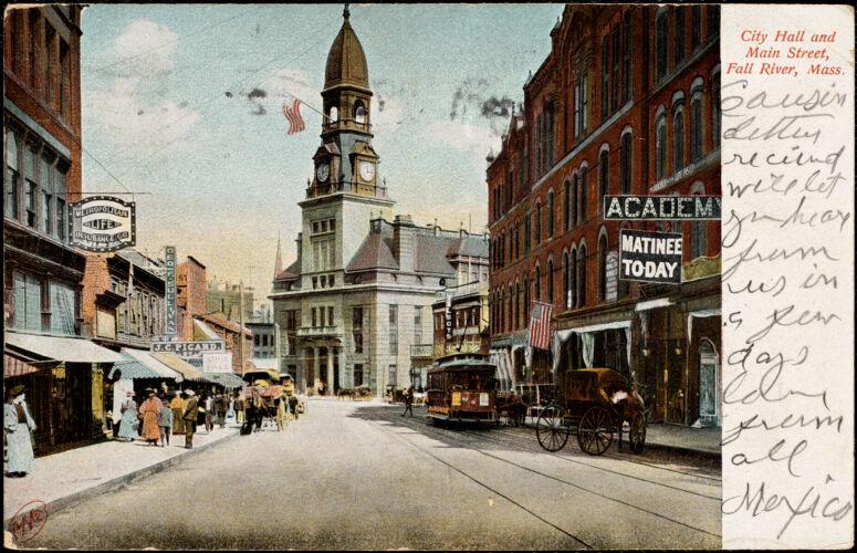 City Hall and Main Street, Fall River, Mass.