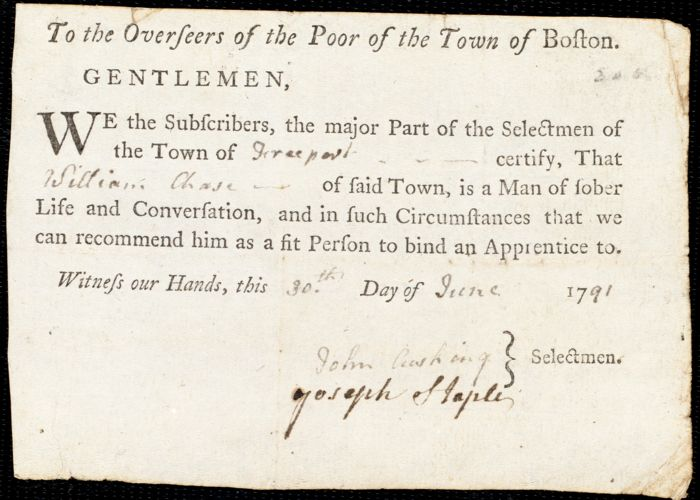 Document of indenture: Servant: Burkhart, Elizabeth. Master: Chase, William. Town of Master: Freeport. Selectmen of the town of Freeport autograph document signed to the Overseers of the Poor of the town of Boston: Endorsement Certificate for William Chase.