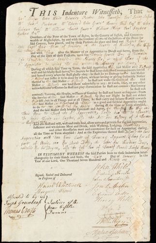Document of indenture: Servant: Carr, Robert. Master: Stone, John. Town of Master: Concord