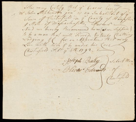 Document of indenture: Servant: Brown, James. Master: Stephenson, John Jr. Town of Master: Chesterfield. Selectmen of the town of Chesterfield autograph document signed to the [Overseers of the Poor of the town of Boston]: Endorsement Certificate for John Stephenson.