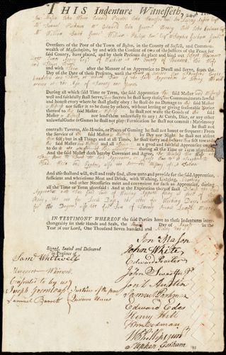 Document of indenture: Servant: Whitmore, Joseph. Master: Avery, James. Town of Master: Machias