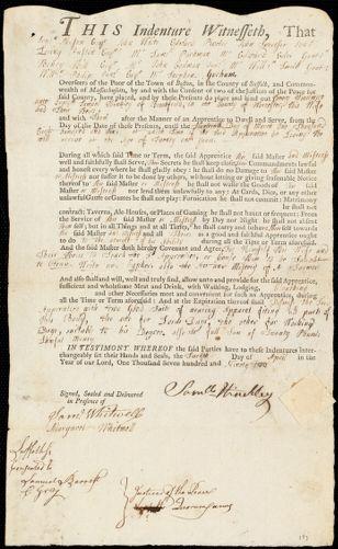 Document of indenture: Servant: Woodman, Henry. Master: Hinckley, Samuel. Town of Master: Brookfield