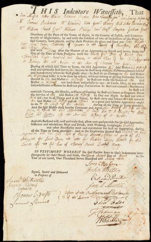 Document of indenture: Servant: Wright, John. Master: Hathway, James. Town of Master: Spencer