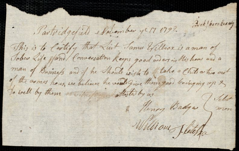 Document of indenture: Servant: Buckley, Mary. Master: Wilcox, Samuel. Town of Master: Partridgefield. Selectmen of the town of Partridgefield autograph document signed to the [Overseers of the Poor of the town of Boston]: Endorsement Certificate for Samuel Wilcox.
