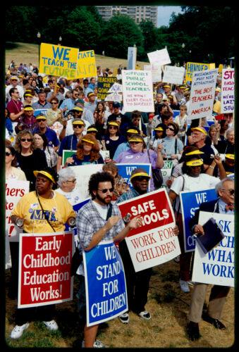 Boston teachers protest qualifying exams on the Common, Boston