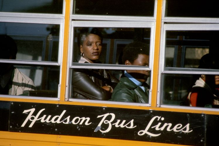 Court-order busing: black students arrive, Charlestown