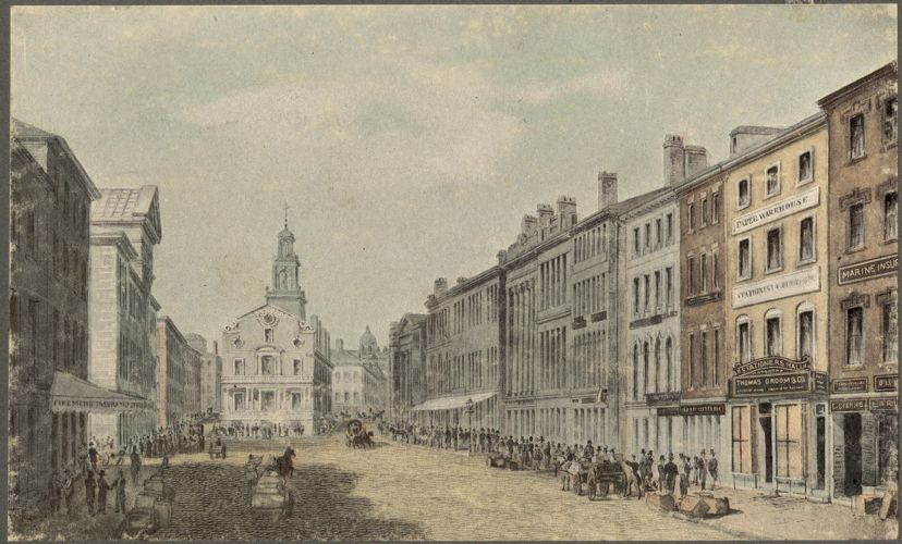 Looking up State Street toward Old State House