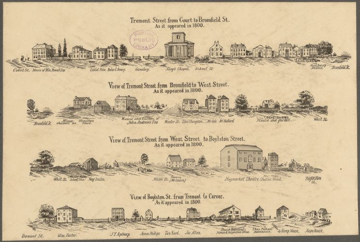 Tremont Street and Boylston Street in 1800