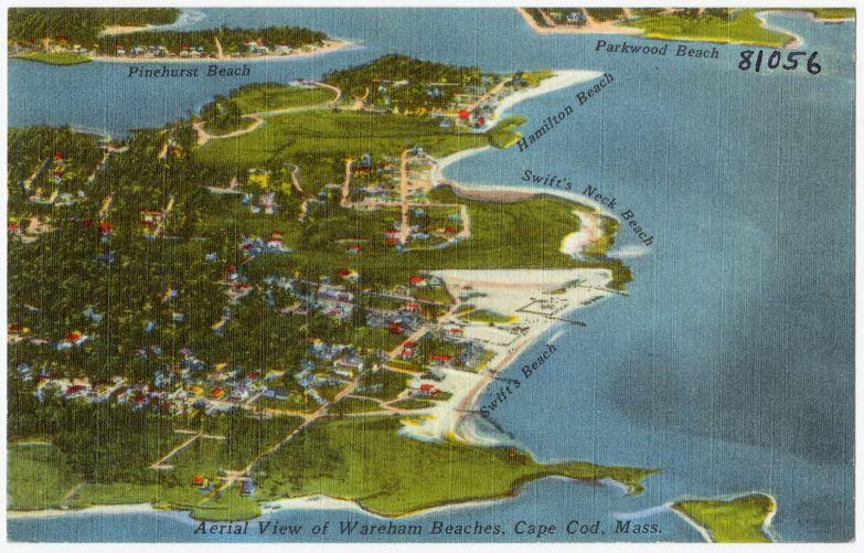 Aerial view of Wareham Beaches, Cape Cod, Mass.