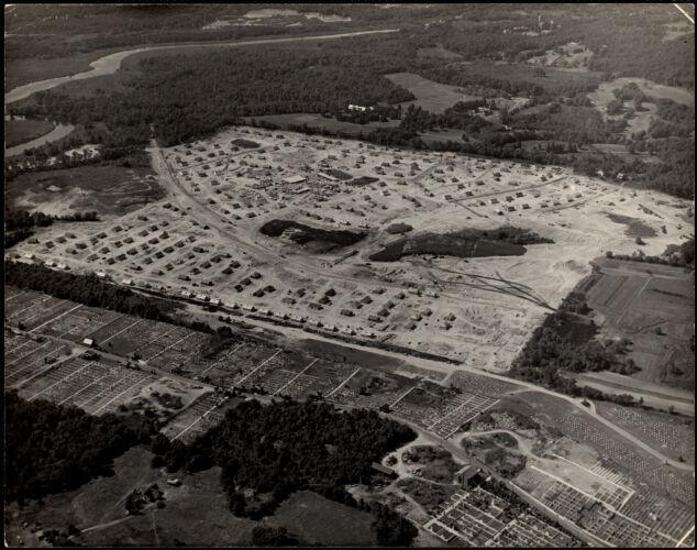 Aerial view, veteran's housing, Oak Hill Park. Newton, MA