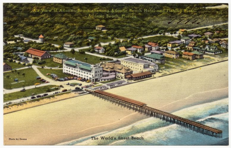 Air view of Atlantic Beach showing Atlantic Beach Hotel and fishing pier, Atlantic Beach, Florida