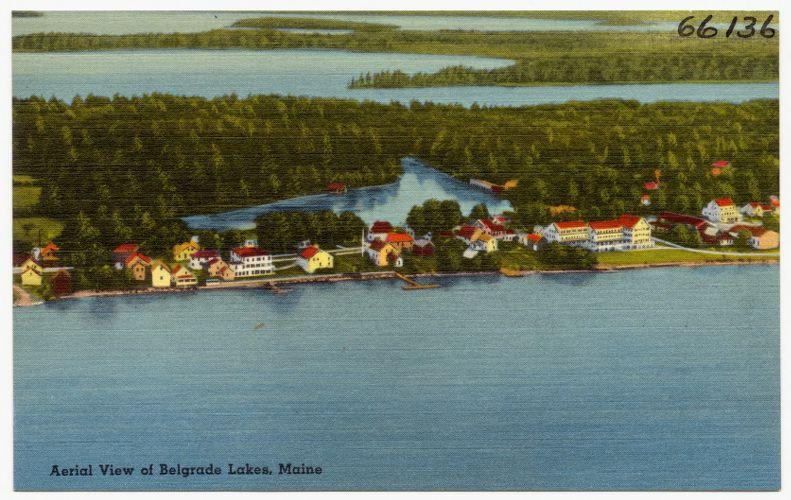 Aerial view of Belgrade Lakes, Maine