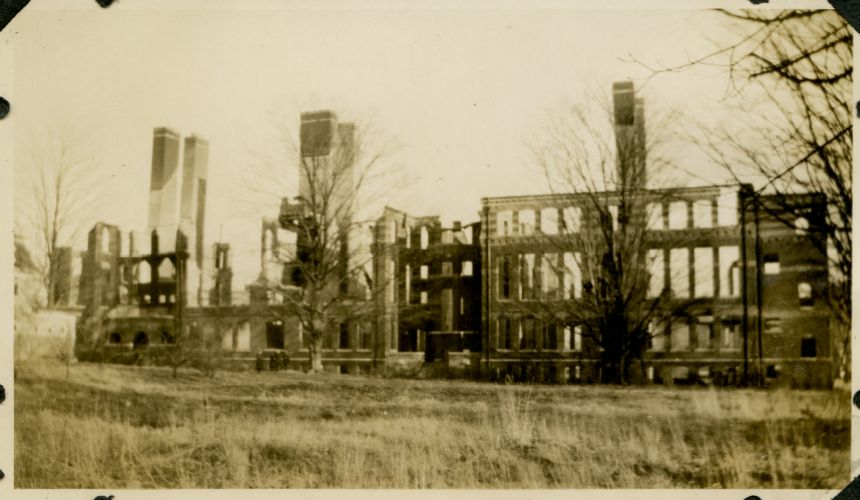 Campus fire - remains of the Normal School Building after the fire, December 1924