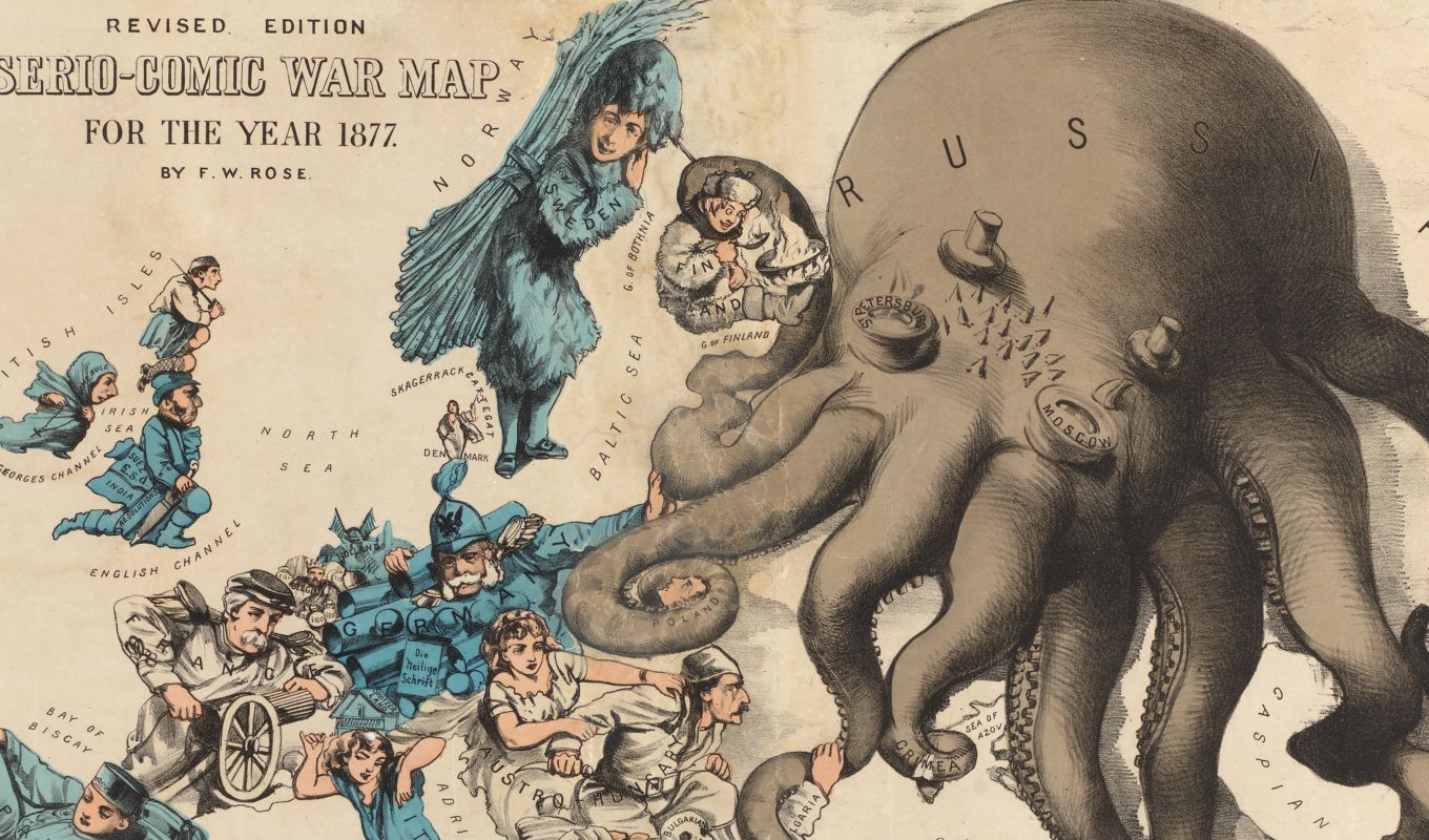 Fred Rose's 1877 map of Russia as an octopus is one of the most famous examples of a caricature map used to promote a nationalist cause