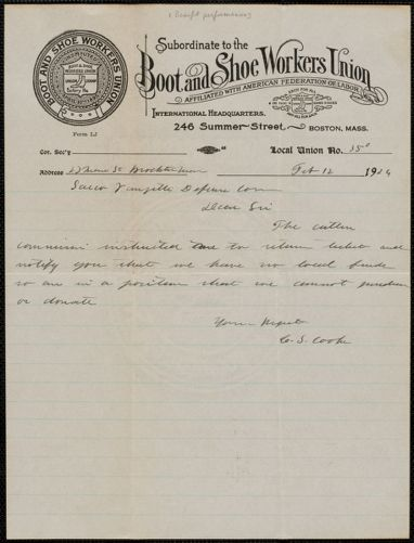 C. S. Cooke (Boot and Shoe Workers Union) autograph letter signed to Sacco-Vanzetti Defense Committee, Brockton, Mass., February 12, 1924