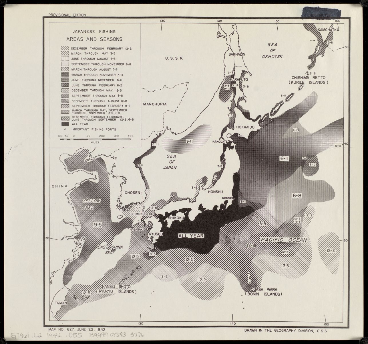 United States. Office of Strategic Services. Geography Division. Japanese fishing, areas and seasons. 1942.