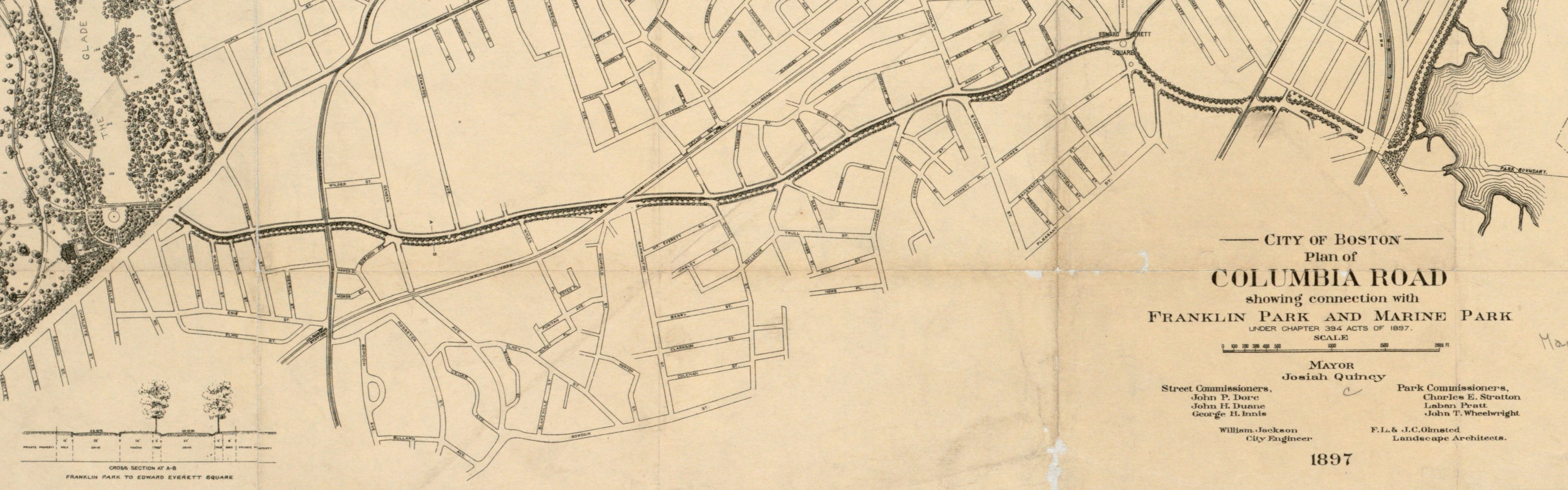 The Olmsted firm's 1897 plan for Columbia Road was never realized