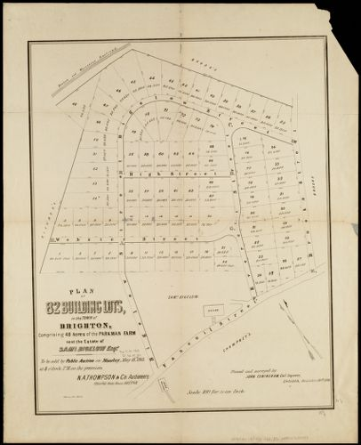 Plan of 82 building lots, in the town of Brighton, comprising 48 acres of the Parkman Farm next the estate of Saml. Bigelow Esqr