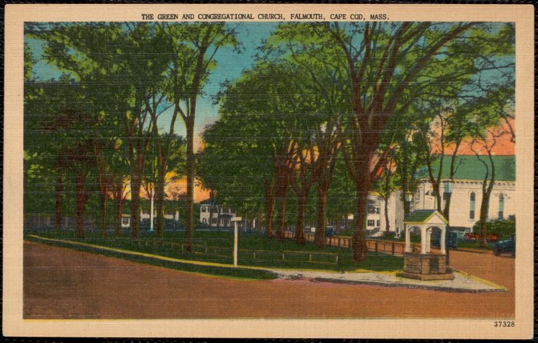 The Green and Congregational Church, Falmouth, Cape Cod, Mass.