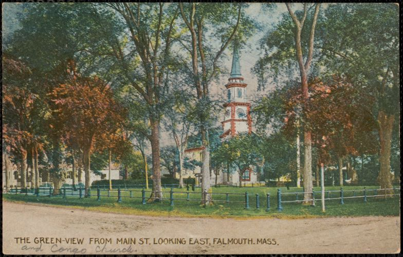The Green, view from Main St. looking east, Falmouth, Mass.