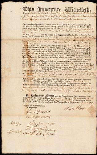 Document of indenture: Servant: Burke, Josiah. Master: Hon [How], John. Town of Master: Boston