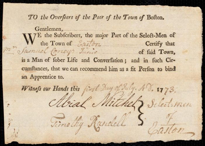 Document of indenture: Servant: White, Elizabeth. Master: Coney, Samuel Jr. Town of Master: Easton. Selectmen of the town of Easton autograph document signed to the Overseers of the Poor of the town of Boston: Endorsement Certificate for Samuel Coney, Jr.