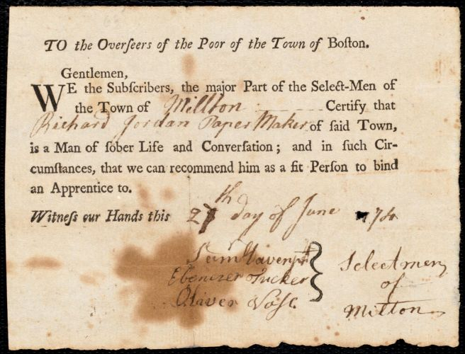Document of indenture: Servant: Whitty, John. Master: Jordan, Richard. Town of Master: Milton. Selectmen of the town of Milton autograph document signed to the Overseers of the Poor of the town of Boston: Endorsement Certificate for Richard Jordan.