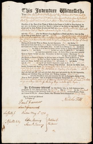 Document of indenture: Servant: Aish, John. Master: Tabb [Tab], Nicholas.Town of Master: Boston