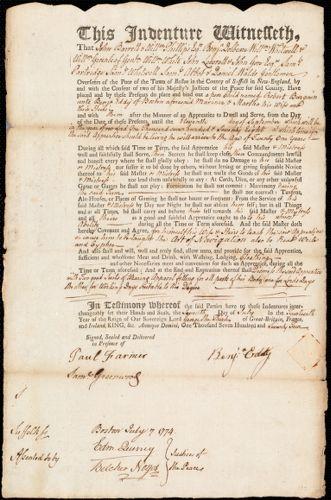 Document of indenture: Servant: Burgain, Robert. Master: Eddy, Benjamin. Town of Master: Boston