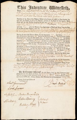 Document of indenture: Servant: Whitman, Hannah. Master: Ballard, Joseph. Town of Master: Boston.