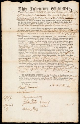 Document of indenture: Servant: Akley, William. Master: Downes, Shubael. Town of Master: Boston
