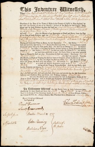 Document of indenture: Servant: Wheeler, Elizabeth. Master: Simpson, Ebenezer. Town of Master: Boston