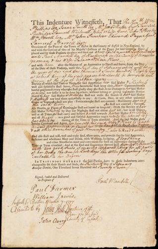 Document of indenture: Servant: Baker, Lydia. Master: Mandell, Paul. Town of Master: Hardwick