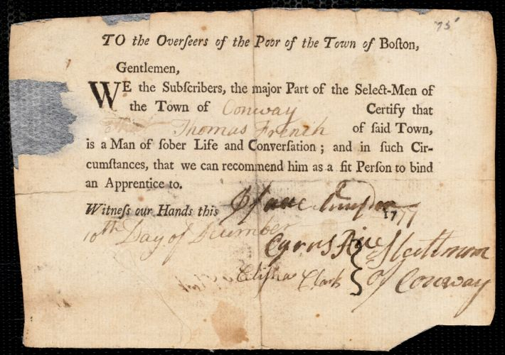 Document of indenture: Servant: Baker, John Cullam. Master: Vose, Benjamin. Town of Master: Milton. Selectmen of the town of Milton autograph document signed to the Overseers of the Poor of the town of Boston: Endorsement Certificate for Benjamin Vose.