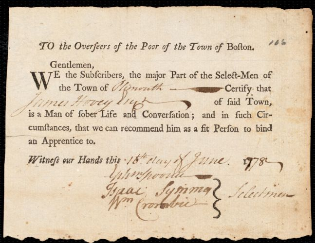 Document of indenture: Servant: Wheeler, Mary. Master: Burn, Michael. Town of Master: Boston