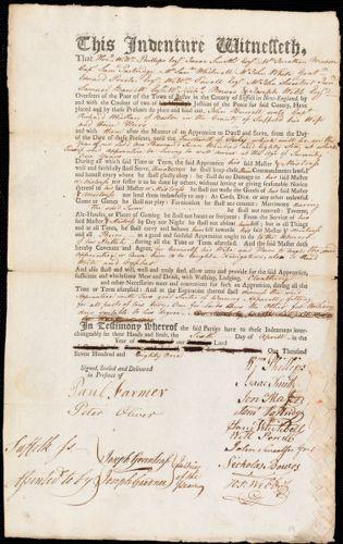 Document of indenture: Servant: Burrell, John. Master: Whellen [Wheelan], Richard. Town of Master: Boston