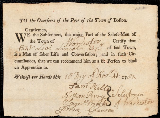 Document of indenture: Servant: Winslow, Edward. Master: Lincoln, Levi. Town of Master: Worcester