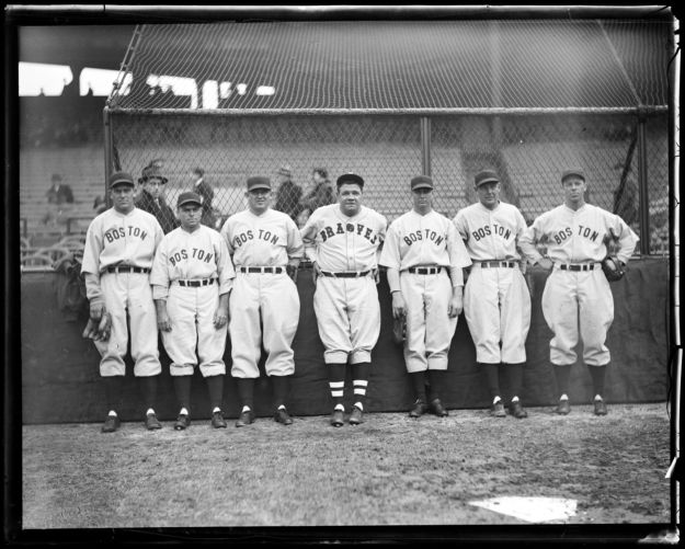Babe Ruth with Red Sox players after signing with Braves