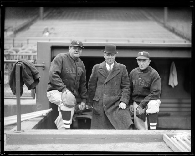Babe Ruth, Jack Barry and Rabbit Maranville, Braves Field