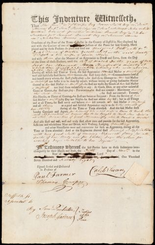 Document of indenture: Servant: Bell [Bells], Margaret [Margreat]. Master: Swan, Caleb. Town of Master: Boston