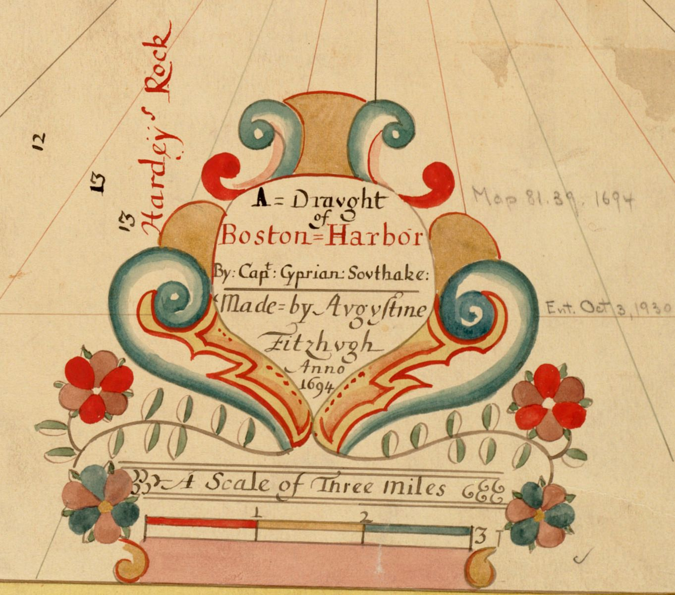 Detail of a cartouche from Southack's map of Boston Harbor.