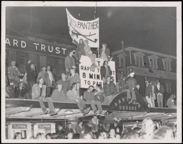 Before police were able to clear the Harvard Square area, demonstrators took over the MBTA station entrance