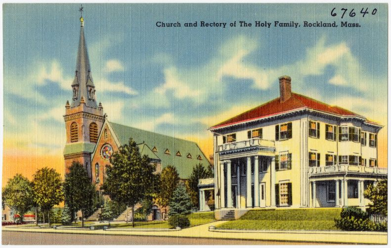 Church and rectory of The Holy Family, Rockland, Mass.