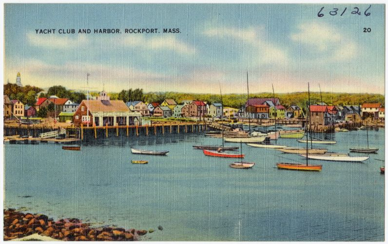 Yacht Club and harbor, Rockport, Mass.