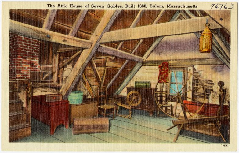 The attic, House of Seven Gables, built, 1668, Salem, Mass.