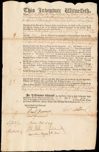 Document of indenture: Servant: Appleton, Francis. Master: Walker, Thomas. Town of Master: Boston