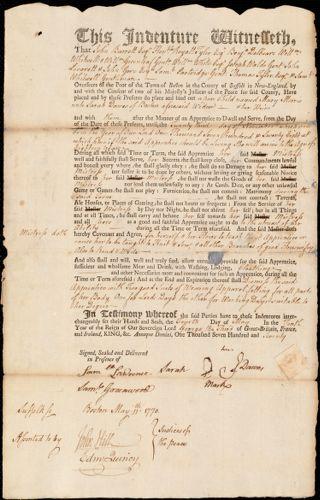 Document of indenture: Servant: Morris, Mary. Master: Dawes, Sarah. Town of Master: Boston