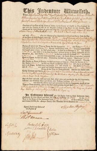 Document of indenture: Servant: McNair, Robert. Master: Hussey, Stephen. Town of Master: Nantucket