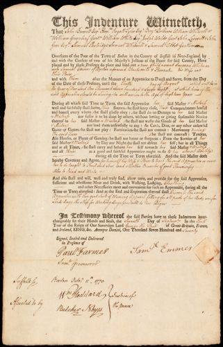 Document of indenture: Servant: Whitman, Susanna. Master: Emmes, Samuel. Town of Master: Boston